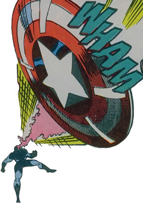 Vance Astro aka Major Victory of the Guardians of the Galaxy (Marvel Comics) telekinetically propelling his shield