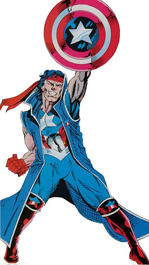 Vance Astro aka Major Victory of the Guardians of the Galaxy (Marvel Comics) with Captain America's shield