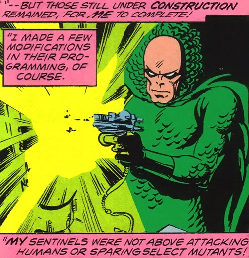 Vanisher (X-Men enemy) (Marvel Comics) using a science pistol