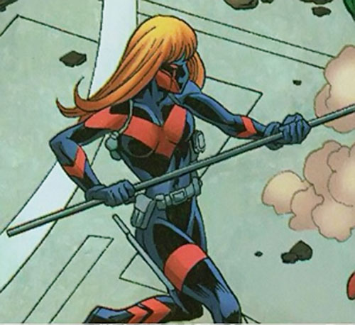 Vantage (Dallas Riordan) (Thunderbolts) (Marvel Comics) fighting with a staff