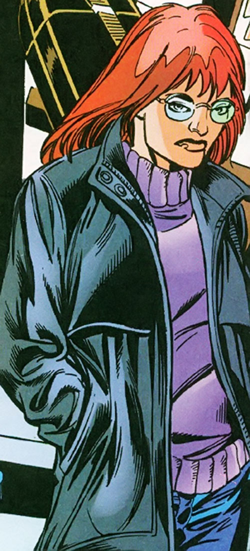 Vantage (Dallas Riordan) (Thunderbolts) (Marvel Comics) with a leather jacket