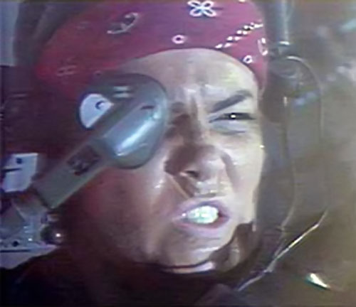Vasquez (Jenette Goldstein in Aliens) face closeup