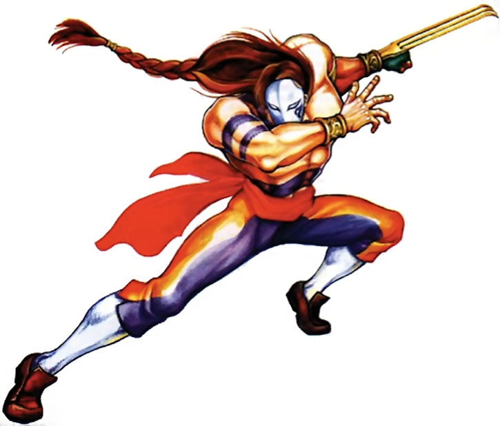 Vega (Street Fighters) posing on a white background