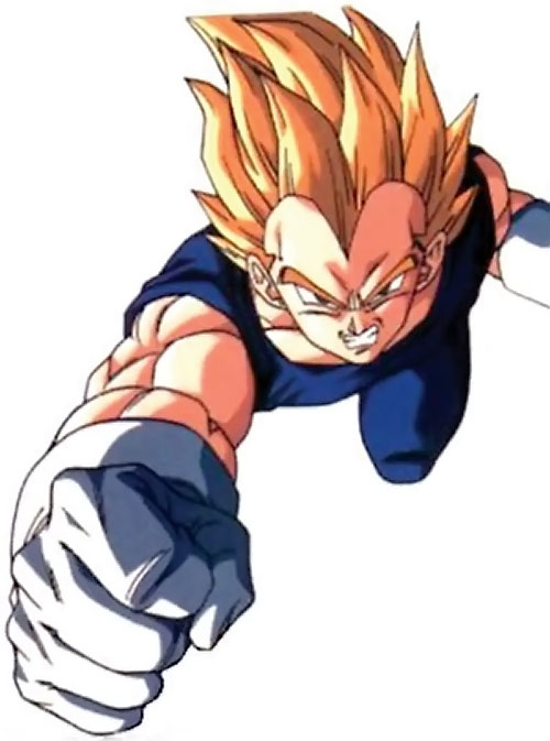 Vegeta from Dragon Ball flying in fist first