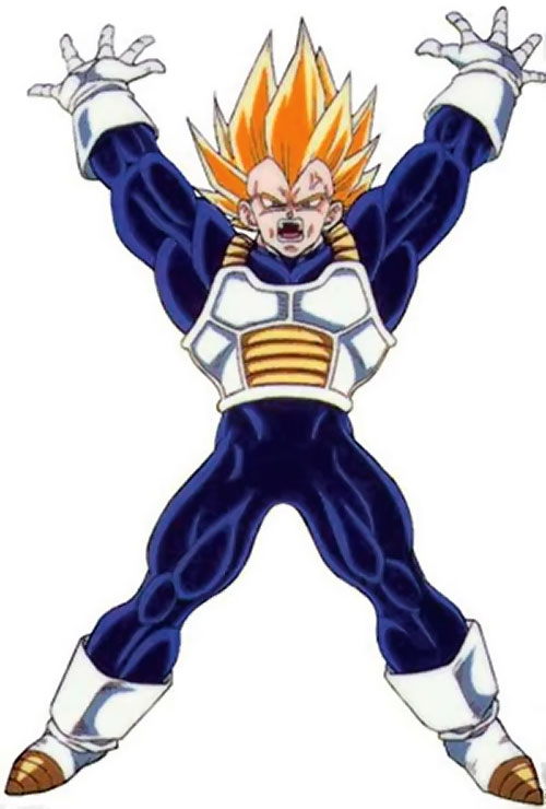 Vegeta from Dragon Ball making an X