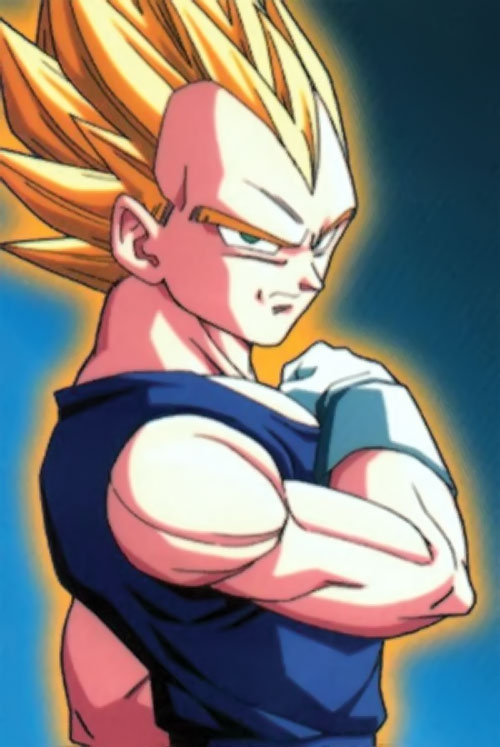 Vegeta from Dragon Ball with blond hair and a golden aura