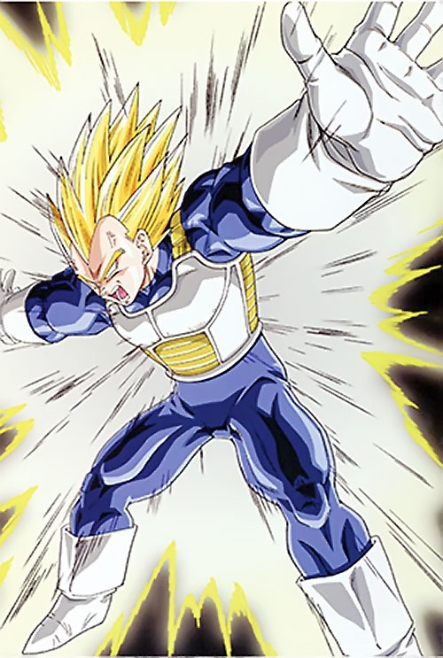 Vegeta from Dragon Ball glowing hard