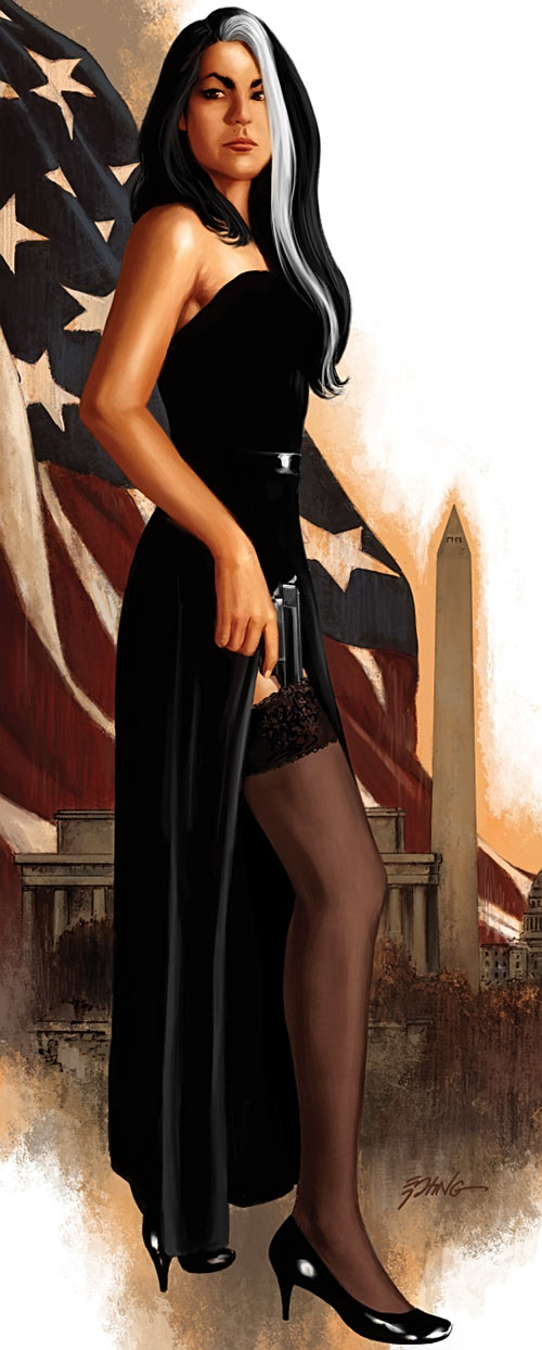 Velvet Templeton (Image Comics by Brubaker and Epting) black gown and flag