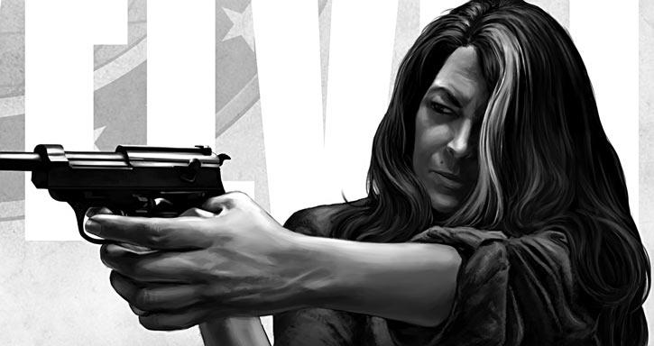 Velvet Templeton (Image Comics by Brubaker and Epting) aiming P38