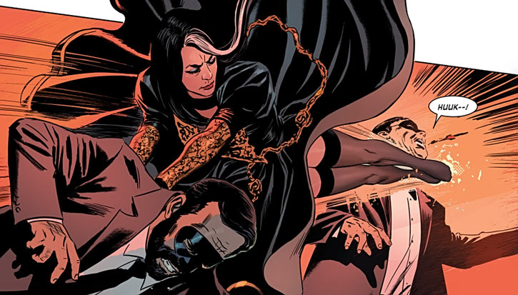 Velvet Templeton (Image Comics by Brubaker and Epting) fighting in a big dress