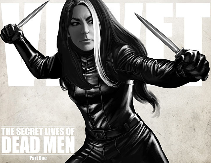 Velvet Templeton (Image Comics by Brubaker and Epting) dual wielding daggers