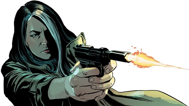 Velvet Templeton (Image Comics by Brubaker and Epting) shooting suppressed P38