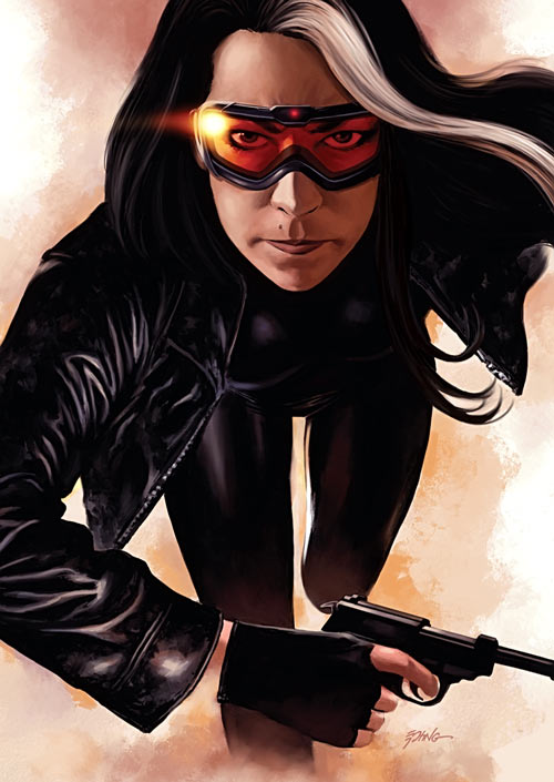 Velvet Templeton (Image Comics by Brubaker and Epting) ski goggles black leather
