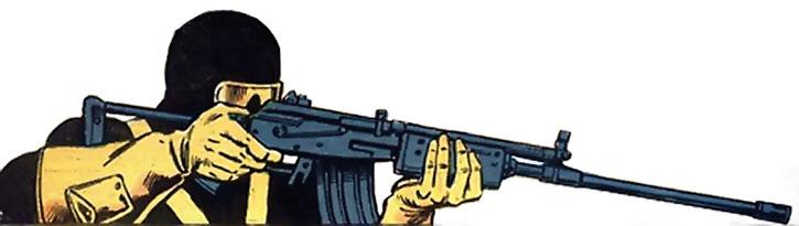 Vengeance aiming a long-barrelled assault rifle