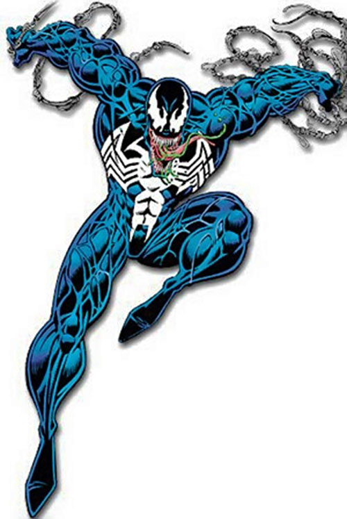Venom (Spider-Man enemy) (Marvel Comics) leaping from a web line
