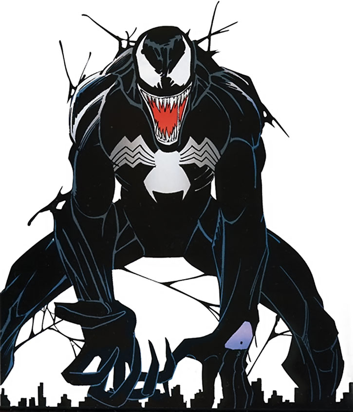 Venom (Eddie Brock) over a white background