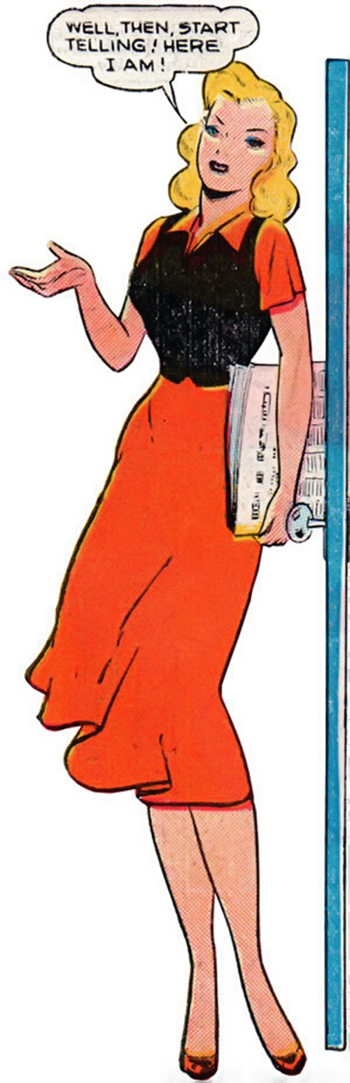 Venus (1950s vintage Atlas Comics) in a red dress