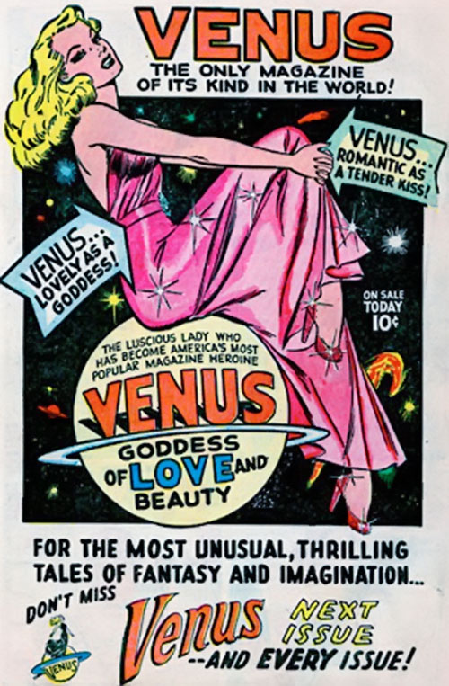 Venus (1950s vintage Atlas Comics) advertisement