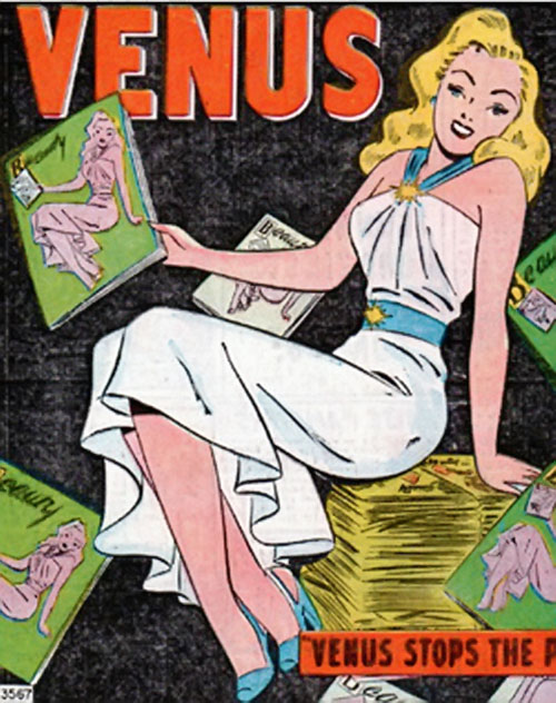 Venus (1950s vintage Atlas Comics) with piles of beauty magazines