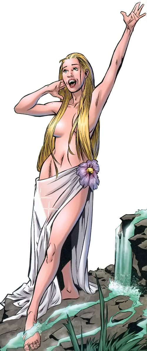 Venus of the Agents of Atlas (Marvel Comics) as a nymph