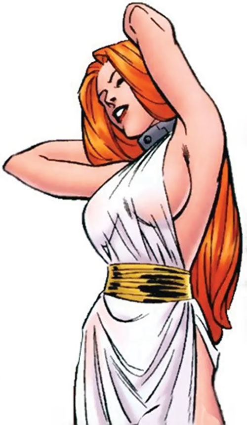 Venus of the Agents of Atlas (Marvel Comics) with red hair and a restraining collar
