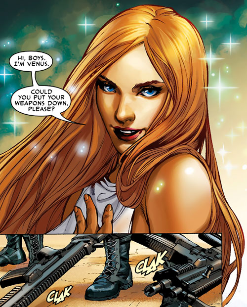 Venus of the Agents of Atlas (Marvel Comics) face closeup