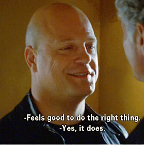 Vic Mackey (Michael Chiklis in The Shield) smiling