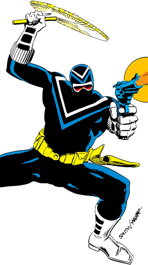 Vigilante (DC Comics) (Adrian Chase) with a nunchaku and revolver