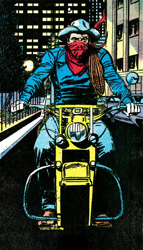Vigilante (DC Comics) (Greg Sanders) rides his bike through the city (Gray Morrow art)