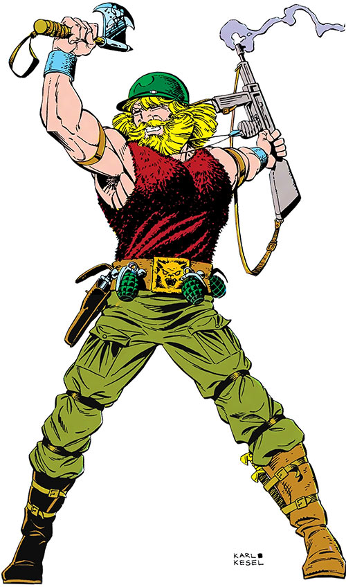 Viking Commando (DC Comics) over a white background