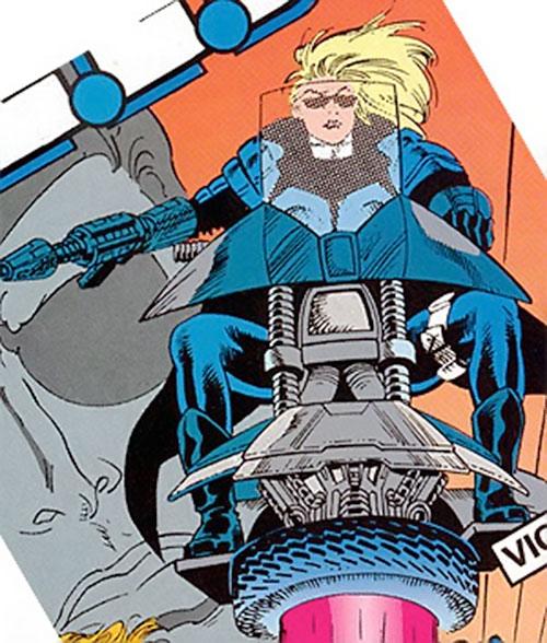 Violence of SHIELD (Marvel Comics) on her flying motorbike