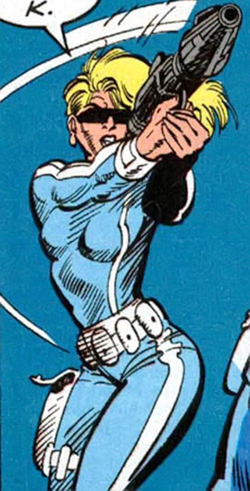 Violence of SHIELD (Marvel Comics) aiming her plasma pistol