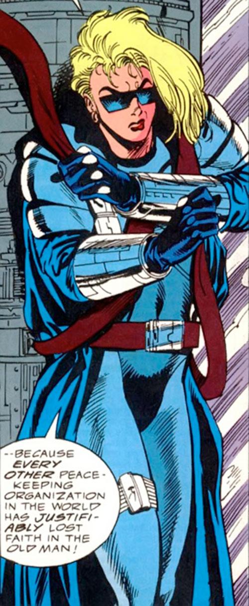 Violence of SHIELD (Marvel Comics) putting on straps