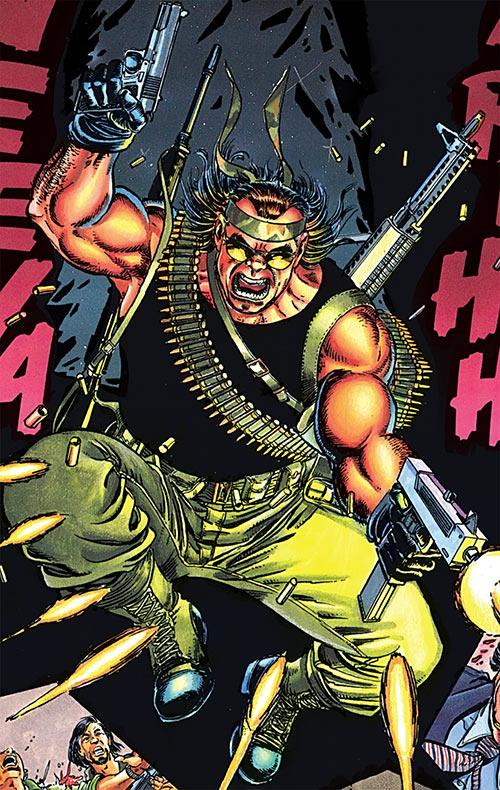 Violens (Peter David comics) jumping in and firing a MAC-11