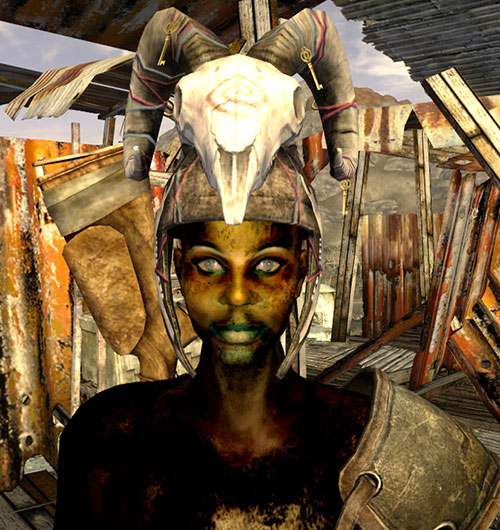 Violet of the Fiends (Fallout New Vegas) with a skull helmet