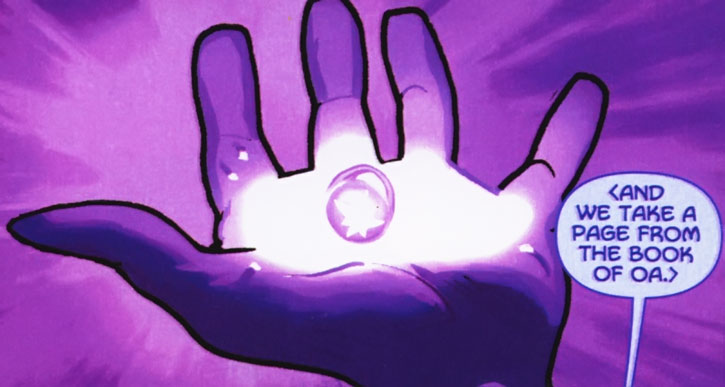 Violet power ring held in a palm