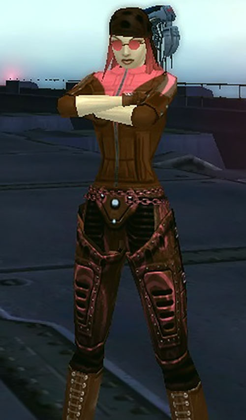 Viscountess (City of Heroes character) with arms crossed