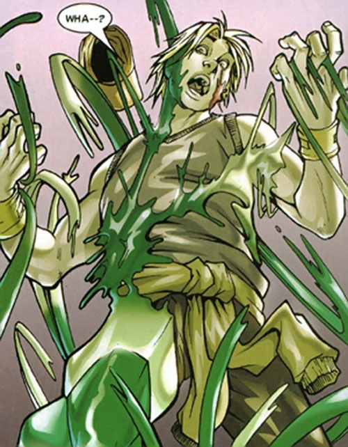 Vision of the Younger Avengers (Marvel Comics) covering a man in liquid form