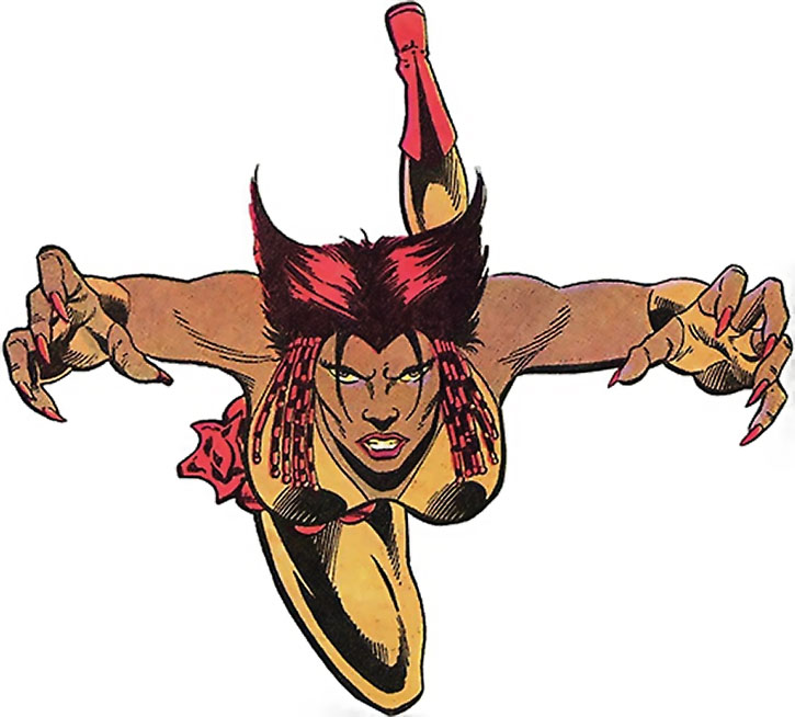 Vixen (Mari McCabe) leaping in over a white background