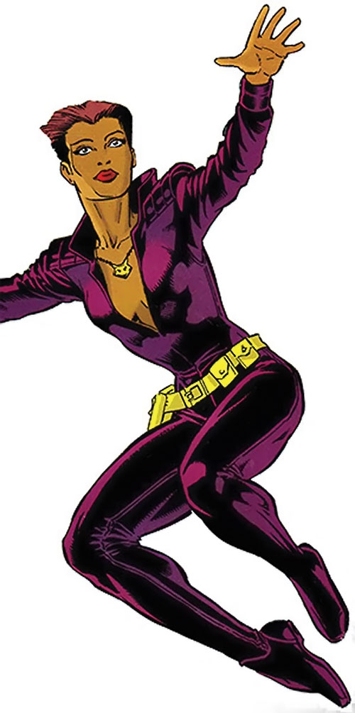 Vixen of the JLA (DC Comics) dark violet jumpsuit