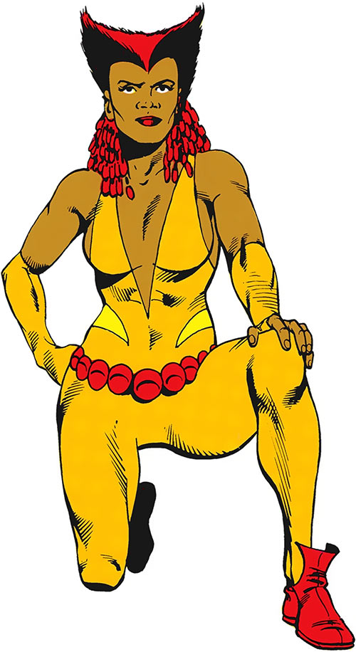 Vixen of the JLA (DC Comics) orange costume kneeling pose