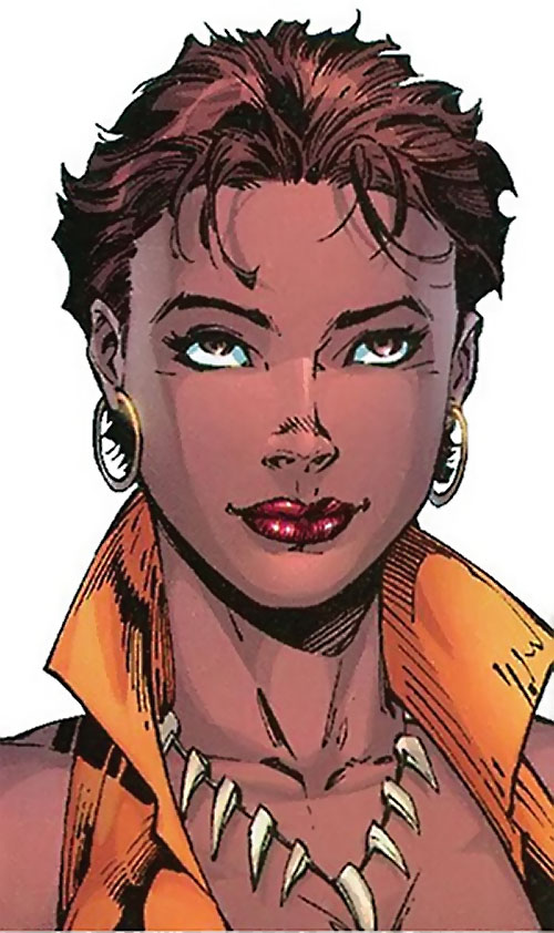 Vixen of the JLA (DC Comics) face closeup claws necklace