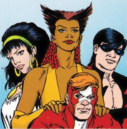 Vixen of the JLA (DC Comics) with Gypsy, Steel and Vibe