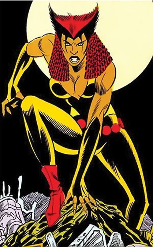 Vixen of the JLA (DC Comics) prowling under the moon