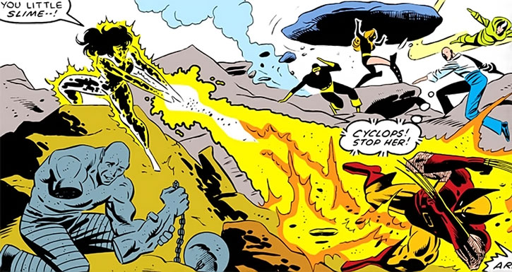 Volcana shoots Wolverine with a fire blast during the Secret Wars