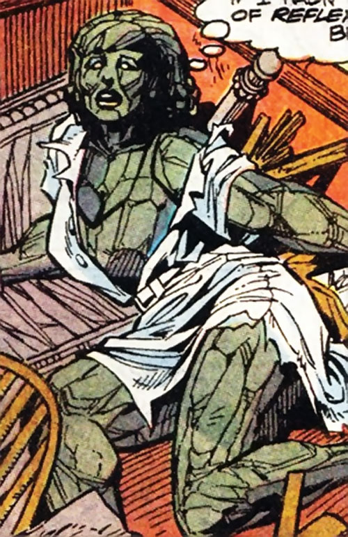 Volcana (Marvel Comics) in stone form in a ruined dress
