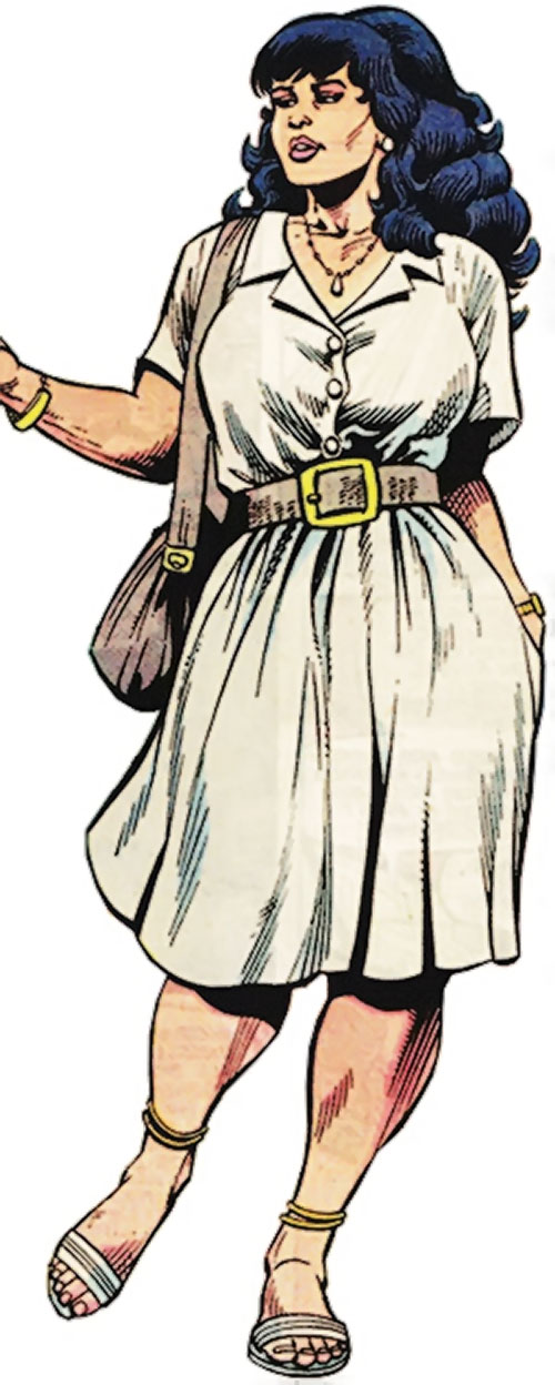 Volcana (Marvel Comics) in human form wearing a white dress