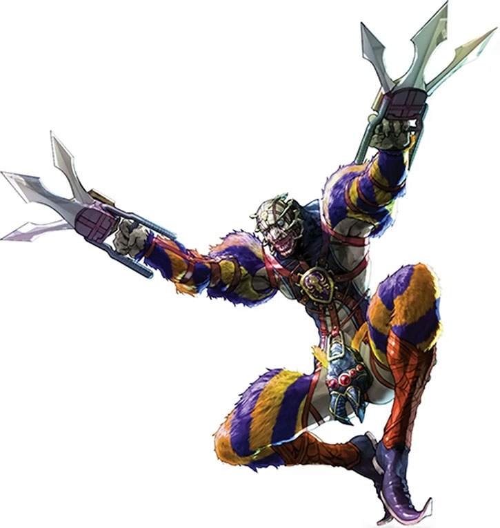 A garish Voldo leaping in, over a white background