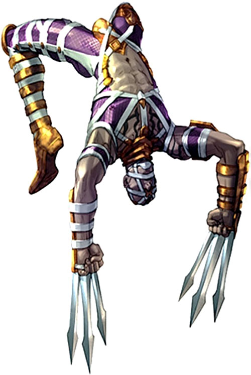 Voldo (Soul Calibur) doing a back sommersault