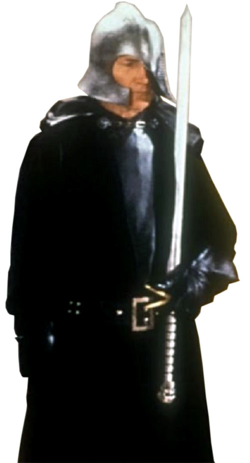 Voltan (Jack Palance in the Hawk the Slayer movie) holding sword up